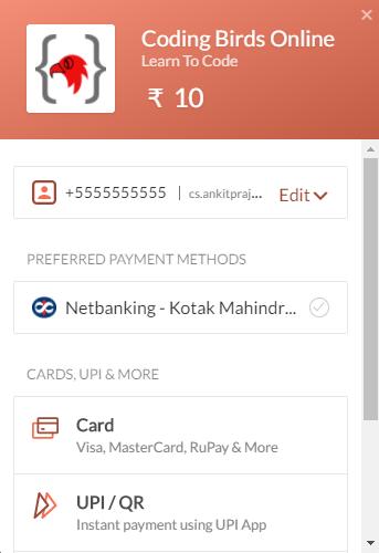 Razorpay payment gateway setup